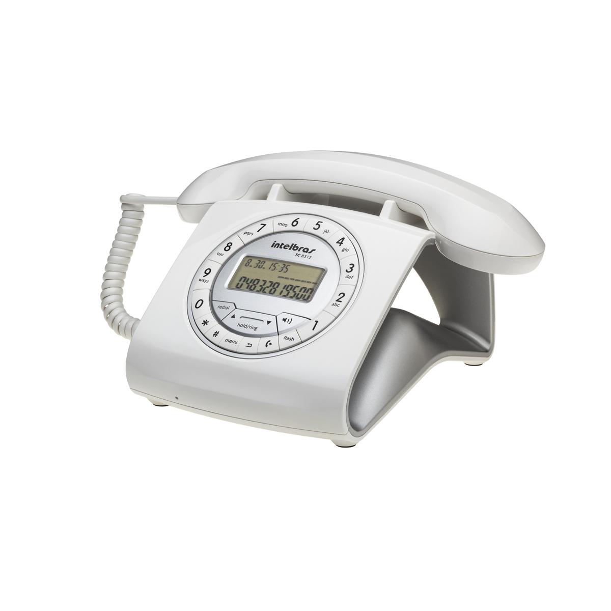 Telefone Com Fio e Estilo Retrô Cor Branco TC 8312 Intelbras