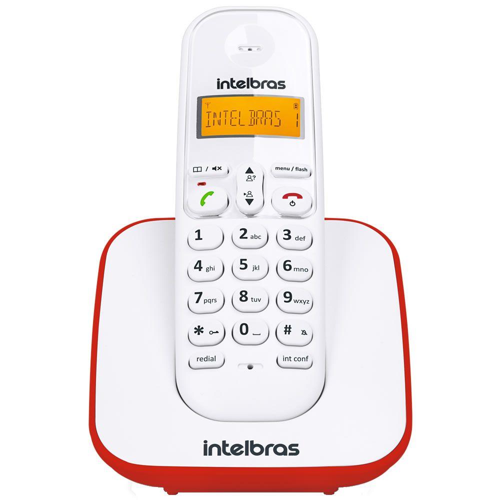 Telefone Sem Fio Com Identificador de Chamadas TS 3110 Branco e Vermelho - Intelbras