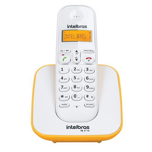 Telefone Sem Fio Com Identificador TS 3110 Branco e Amarelo Intelbras