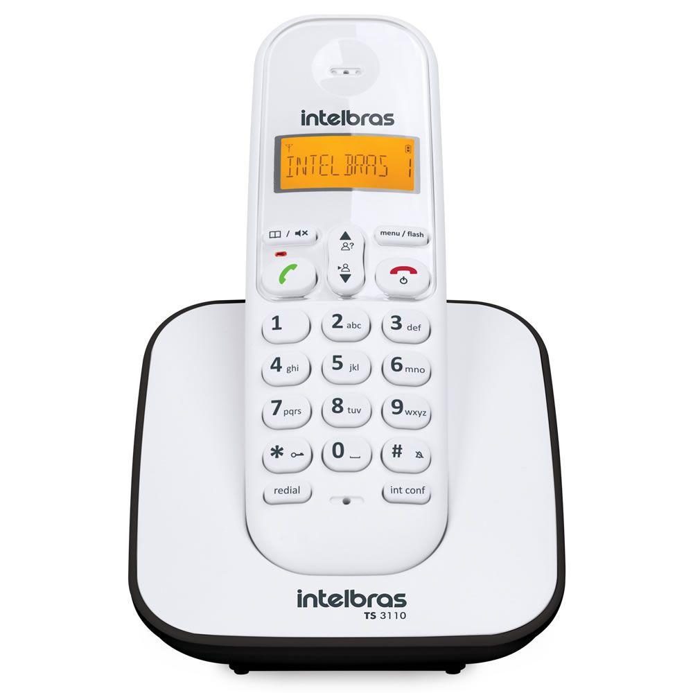 Telefone Sem Fio Com Identificador TS 3110 Branco e Preto Intelbras