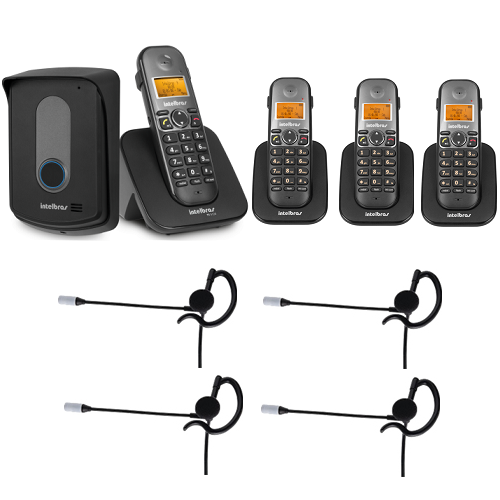 Kit Porteiro Eletrônico Sem Fio TIS 5010 + 3 Ramais + 4 Fones HC 10 Intelbras
