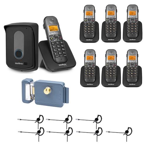 Kit Porteiro Eletrônico Sem Fio TIS 5010 + 6 Ramais + 7 Fones + Fechadura Intelbras