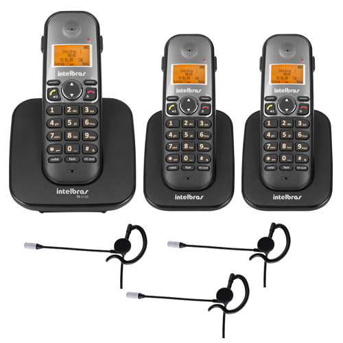 Kit Telefone Sem fio TS 5120 + 2 Ramais TS 5121 + 3 Fone HC 10 Intelbras