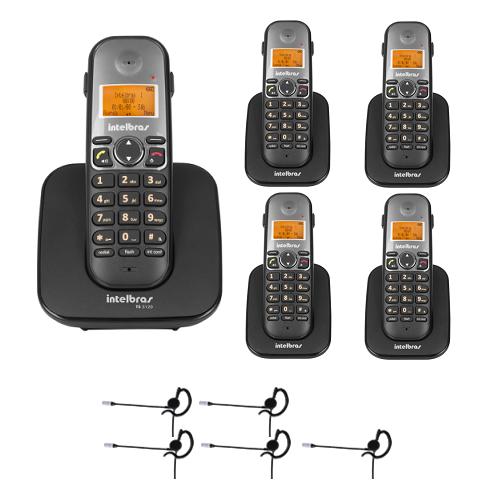 Kit Telefone sem fio TS 5120 + 4 Ramais TS 5121 + 5 Fones HC 10