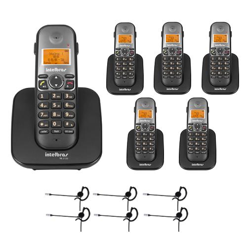 Kit Telefone sem fio TS 5120 + 5 Ramais TS 5121 + 6 Fones HC 10