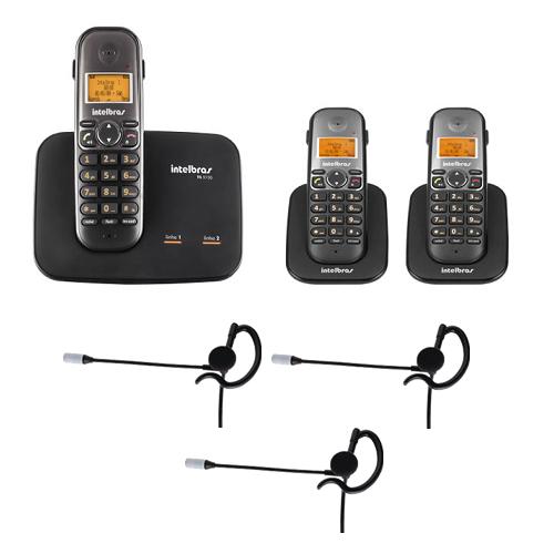Kit Telefone 2 Linhas Ts 5150 + 2 Ramais Ts 5121 + 3 fones HC 10 Intelbras