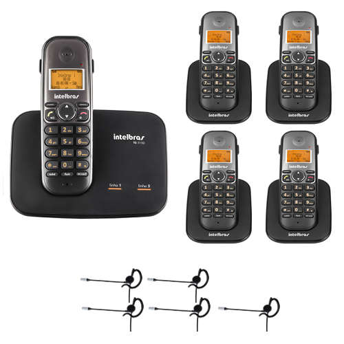 Kit Telefone 2 Linhas Ts 5150 + 4 Ramais Ts 5121 + 5 fones HC 10 Intelbras