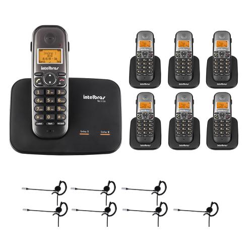Kit Telefone 2 Linhas Ts 5150 + 6 Ramais Ts 5121 + 7 fones HC 10 Intelbras