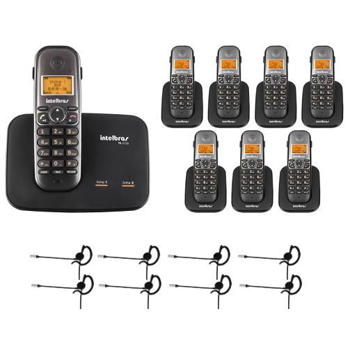 Kit Telefone 2 Linhas Ts 5150 + 7 Ramais Ts 5121 + 8 fones HC 10 Intelbras