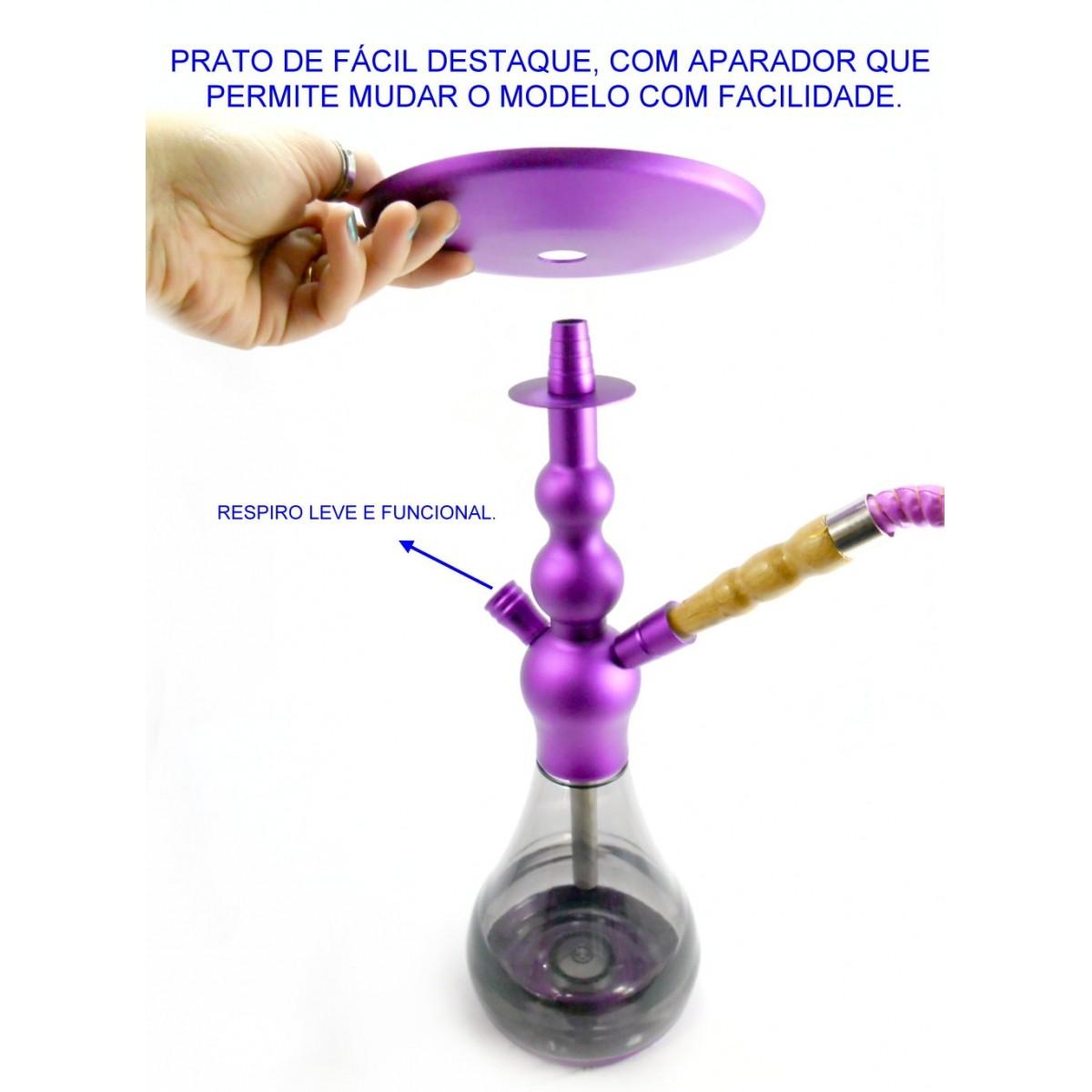 Narguile YAHYA 42 cm, em ALUMÍNIO ROSA, inoxidável. Vaso ACRÍLICO fumê. 1 mangueira. mod. MV42_ALUMCOLOR_Y13_1S-ROSA
