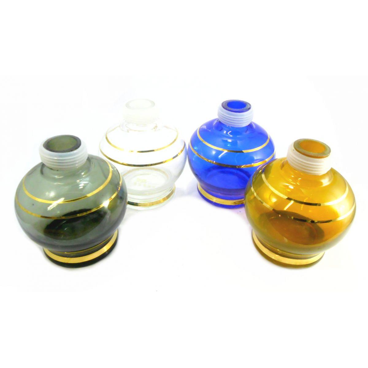 Vaso/base para narguile marca Kimo (15cm), bojudo, com LISTRA DOURADA. Encaixe macho (interno).
