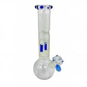 Bong de vidro extra grosso base reta, suporte de gelo e percolador DUPLO. 28cm de altura, 5,0cm diâmetro superior.
