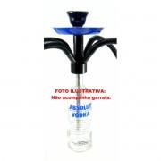 Central de Narguile ABSOLUT® KING + 4 Mangueiras laváveis MD HOSE + Rosh PRETO + Prato AZUL (SEM GARRAFA).