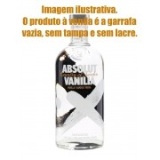 Garrafa VAZIA p/montar narguiles FULGORE. Absolut Vanilia 1lt, com rosca no gargalo de vidro, sem tampa, sem dosador