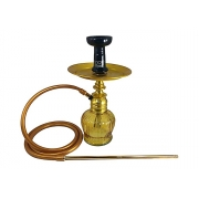 Narguile Amazon Kombat Dourado, vaso Chamma QT, mangueira silicone, piteira alumínio, rosh Yes preto, prato DM dourado