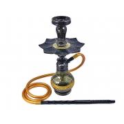 Narguile Amazon Kombat Preto, vaso Drop, mangueira silicone, piteira alumínio preta, rosh Kimo, prato Athenas