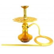 Narguile Amazon Lord Dourado, vaso Aladin âmbar, mangueira silicone, piteira e rosh alumínio, prato MV amarelo ouro