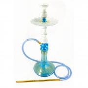 Narguile Amazon Pride Azul Claro/Ônix 65cm, vaso Aladin, mang. silicone, pit. alumínio, rosh Pro Hookah, prato Malik