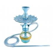 Narguile Anúbis Velvet Azul Claro, vaso Drop, mangueira de silicone, piteira alumínio, rosh Amazon Bowl e prato Malik