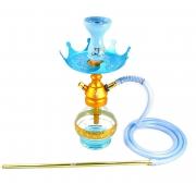 Narguile Anúbis Velvet Dourado, vaso Drop azul claro, mangueira de silicone, piteira alumínio, rosh Nay e prato Alteza