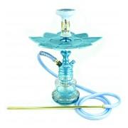 Narguile Empire 40cm Hookah King Azul Claro, vaso Luna azul e dourado, mangueira antichamas, rosh Beta, prato Moon Lua