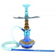 Narguile Fulgore Pro Azul, vaso Nix azul e dourado, mang.silicone, piteira alumínio,rosh Bhraw, prato Moon Imperia