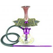 Narguile Moon Lilás, vaso Aladin Tranp./Dourado, mang.silicone, piteira alumínio,rosh EZ, prato Moon preto/dourado