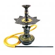Narguile Moon Preto, vaso Shisha Aladin preto, mang.silicone, piteira alumínio, rosh Moon, prato Athenas
