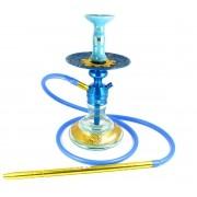 Narguile Triton Zip azul, vaso Drop, mangueira silicone, piteira alumínio, rosh Moon, prato Malik