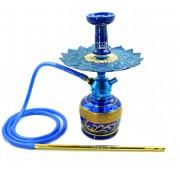 Narguile Triton Zip azul, vaso azul faixa grega dourada, mangueira antichamas c/piteira, rosh Beta, Prato Malik.