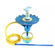 Narguile Triton Zip azul, vaso Drop azul, mang. silicone dourado, piteira alumínio, rosh Beta azul/dourado, prato Malik