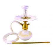 Narguile Triton Zip dourado, vaso Aladin Branco, mangueira silicone branco, piteira alumínio, rosh Beta, prato Athenas