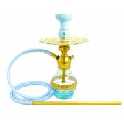 Narguile Triton Zip dourado, vaso Drop azul, mangueira silicone azul bebê, piteira alumínio,rosh Amazon, prato Malik.