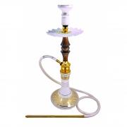 Narguile Umbrella Nano Dourado e Darkwood 67cm, vaso Aladin, mang. silicone, piteira alumínio, rosh Kimo, prato Athenas