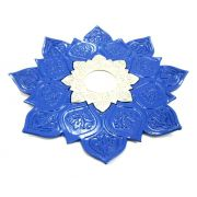 Prato para narguile mod. Athenas 23cm em liga metálica inox e decorado. Cor AZUL ESCURO. Centro Prata