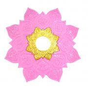 Prato para narguile mod. Athenas 23cm em liga metálica inox e decorado. Cor ROSA CLARO. Centro dourado