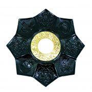 Prato para narguile mod.LÓTUS 20cm., decorado lótus egípcio, inox. Cor Preto.