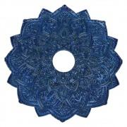 Prato para narguile mod. MALIK 22cm em liga metálica inox e decorado. Cor AZUL ESCURO.