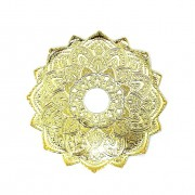 Prato para narguile mod. MALIK 22cm em liga metálica inox e decorado. Cor DOURADO centro DOURADO.