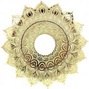 Prato para narguile Pérsia 21cm em inox pintado, decorado flor de lótus. DOURADO
