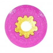 Prato para narguile Vennus 17cm de diâmetro. Liga metálica inox e decorado. ROSA ESCURO (PINK). Centro dourado