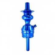 Stem (corpo de narguile) TRITON ZIP, em alumínio maciço, usinado e dutado. 22cm de altura do stem. Azul
