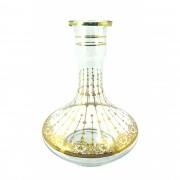 Vaso/base para narguile GENIE / ALADIN grande MD 30cm, vidro TRANSPARENTE desenhos DOURADOS. 5,0cm bocal.