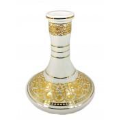 Vaso/base para narguile GENIE / ALADIN MÉDIO 25cm, MD HOOKAH, vidro BRANCO decoração dourada. 4,5cm diam. bocal.