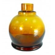 Vaso/base para narguile Luna Ball. 13cm altura e 3,8cm diâmetro de bocal. Encaixe macho (interno). Amarelo