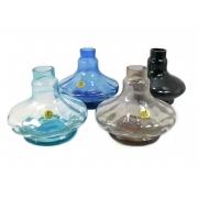 Vaso/base para narguile SHISHA GLASS modelo ALADIN (13,5cm) em vidro LISO e RIGADO. 3,9cm diâm. bocal