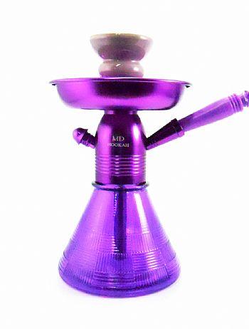 NARGUILE PETIT MD Hookah 23cm vaso base larga LILÁS mang. Lavável corpo alumínio pintura anodizada MDHOOKAH_PETIT_LIL