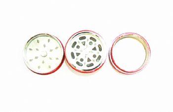Desfiador / triturador / dichavador em metal, decoração motivo Tambor / Barril de Óleo, vermelho.
