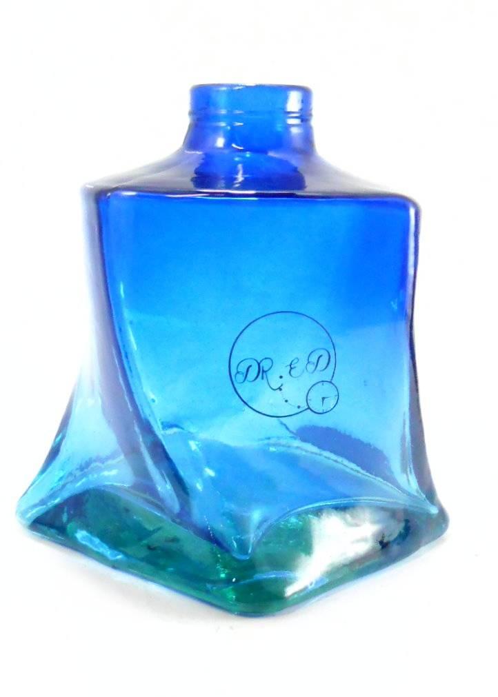 Vaso/base para narguile Dr. Ed COLISEU, em vidro, encaixe macho(interno), pintura em degradê, 13 cm altura.