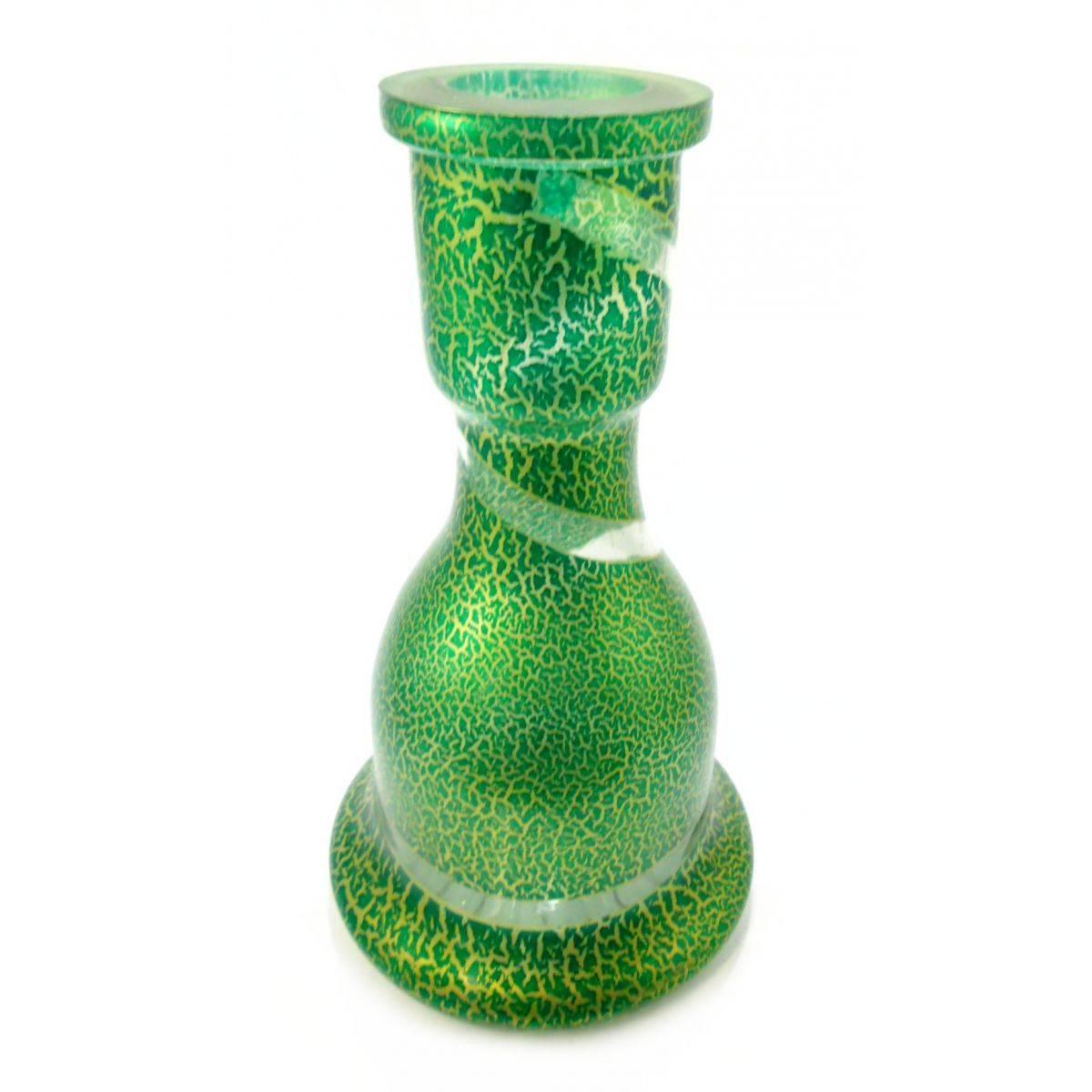 Vaso/base para narguile formato Sino grande 27cm. Em vidro com pintura artesanal craquelado verde.